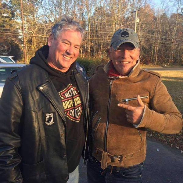 In this Friday, Nov. 11, 2016, photo provided by Ryan Bailey, Dan Barkalow, left, and Bruce Springsteen poses for a photo in Wall Township, N.J_206972