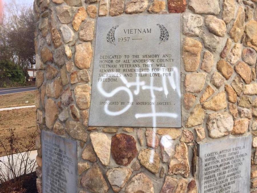 Anderson Vietnam Veteran Memorial Vandalized With Spray Paint
