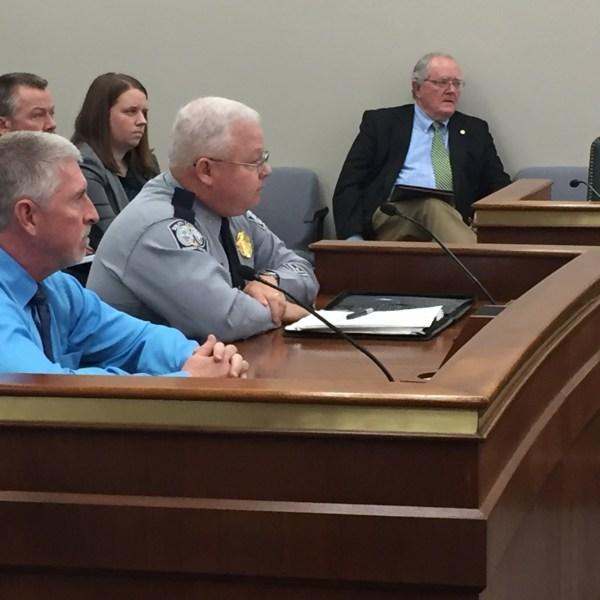 SC Highway Patrol Commander Col. Mike Oliver talks to senators about school bus stop arm violations._333141