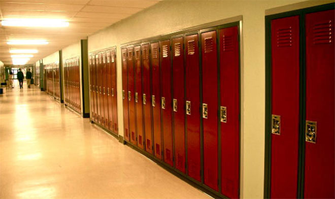 school hallway lockers generic