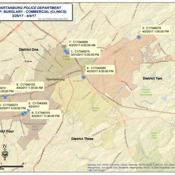 Map of Spartanburg breakins_358938