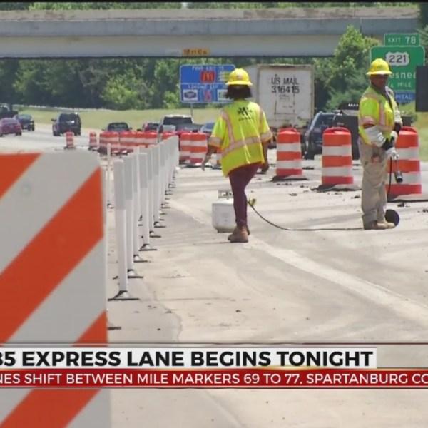 I-85 express lane construction in Spartanburg Co. starts tonight