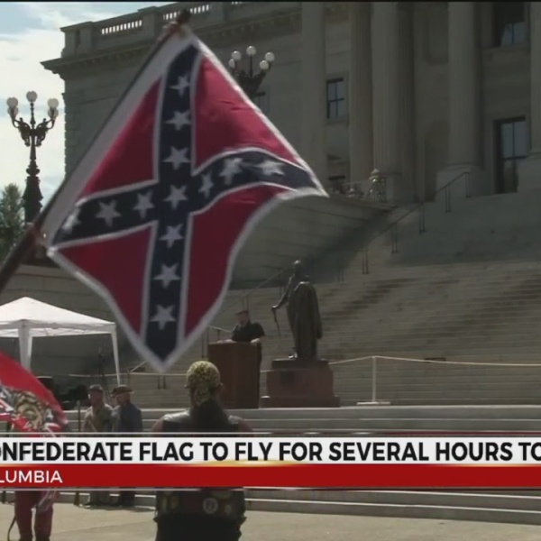 Confederate flag to fly for several hours today