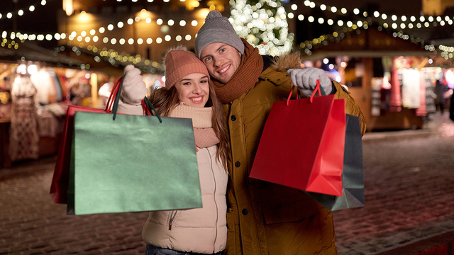 holidays, christmas and people concept - happy couple at with sh_487822