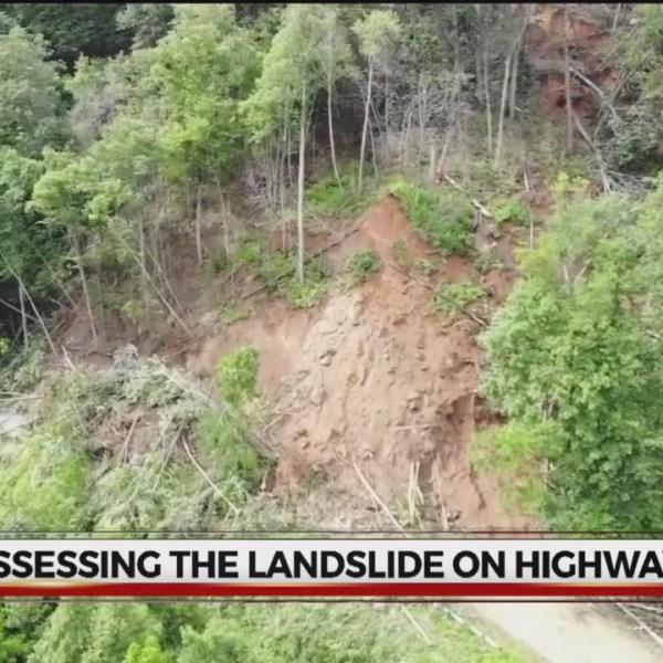 Aerial of landslide in Bat Cave, N.C.