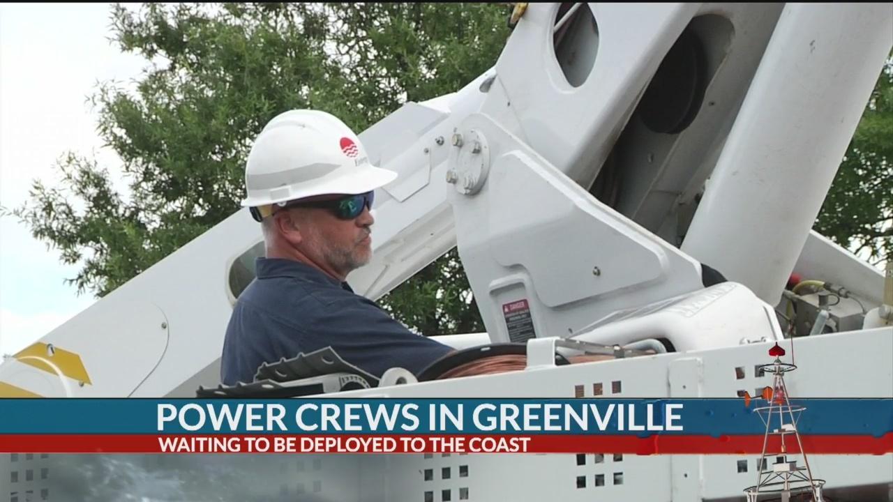 Utility crews organize in Greenville to help restore power