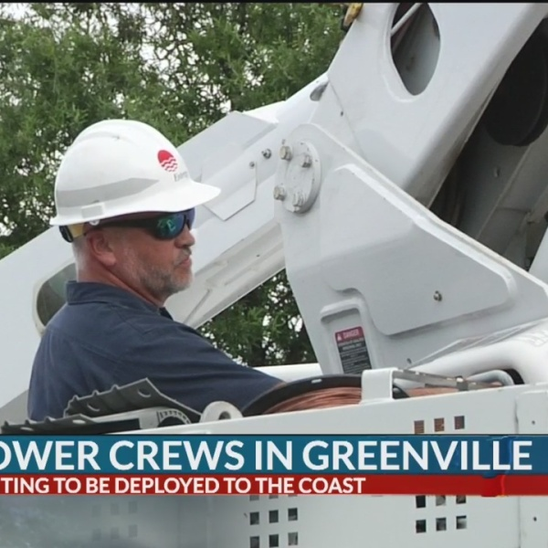 Utility crews organize in Greenville to help restore power