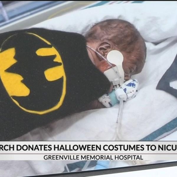 Church donates Halloween Costumes to Greenville NICU babies
