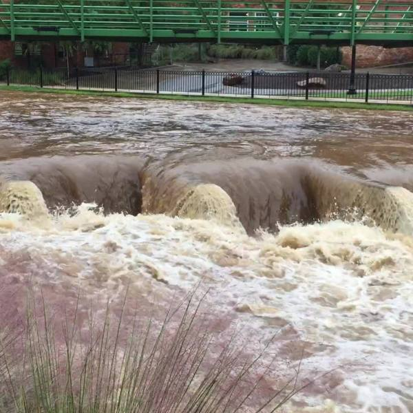 Reedy River in Greenville swollen after Tropical Storm Michael rains