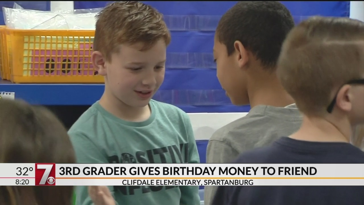Spartanburg 3rd grader helps pay for friend's school lunches