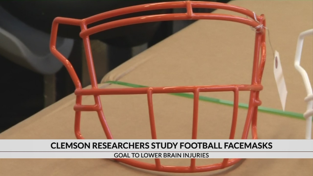 Clemson researchers study football face masks to lower brain injuries