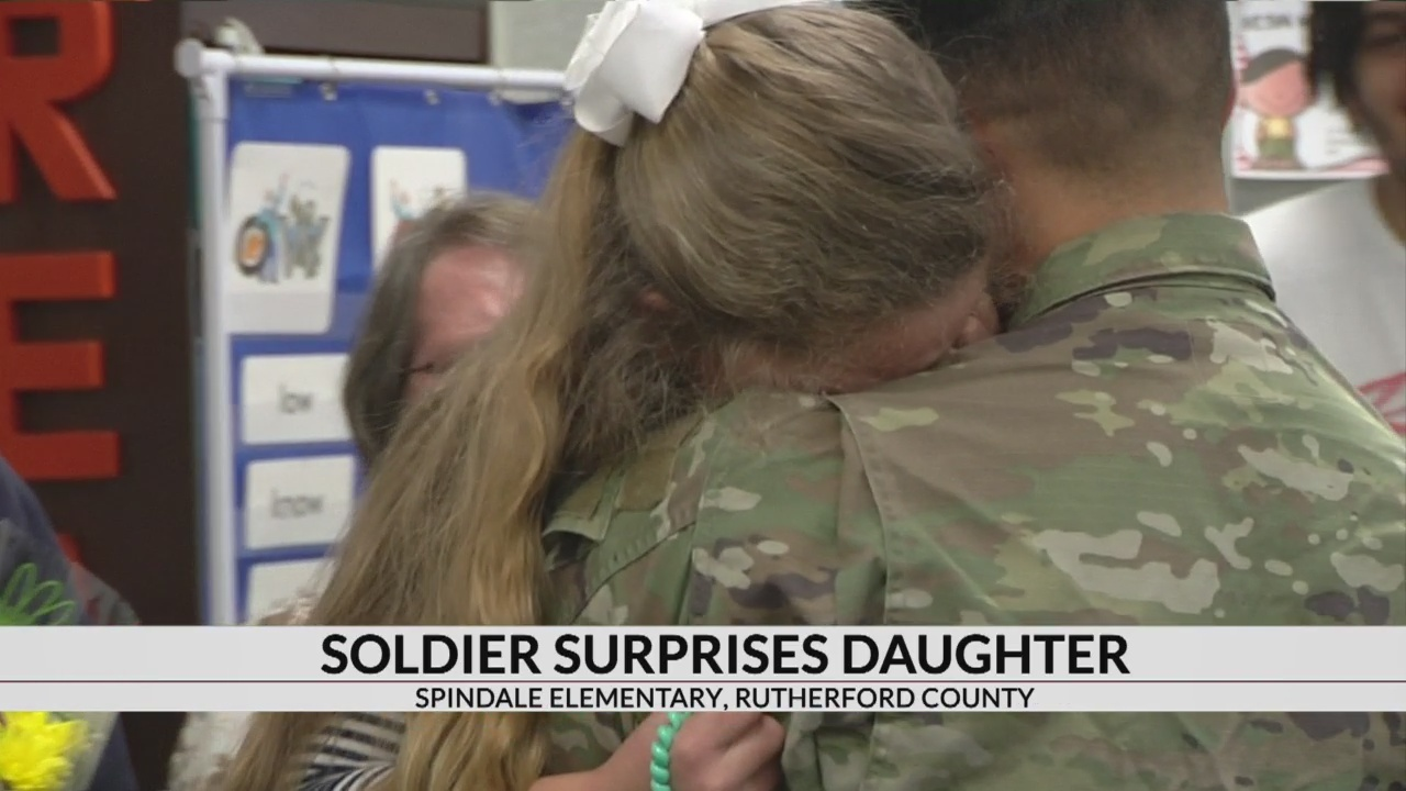 Soldier surprises 7-year-old daughter at Spindale Elementary