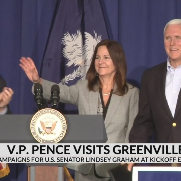 Vice President campaigns for Lindsey Graham in Greenville