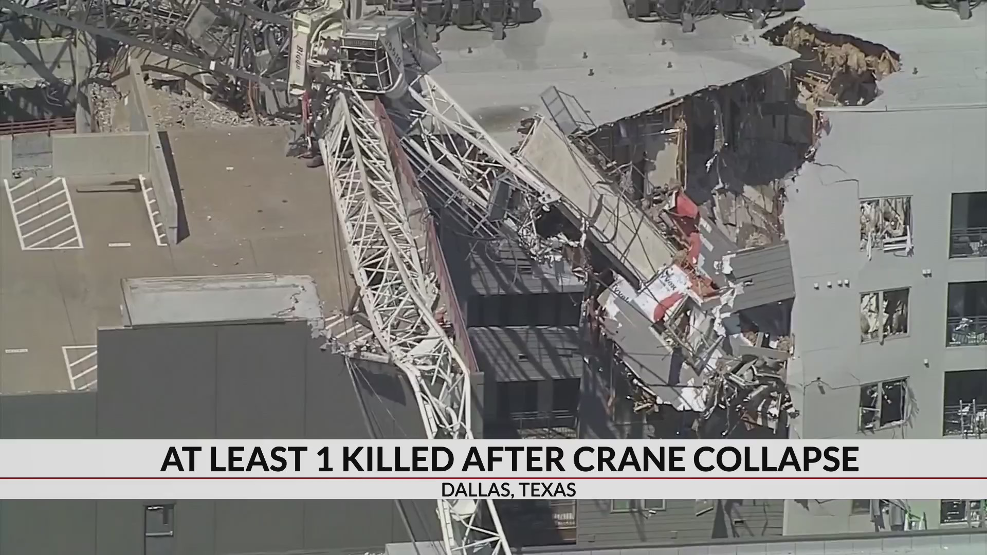 1 killed, 5 injured when crane topples on Dallas apartments