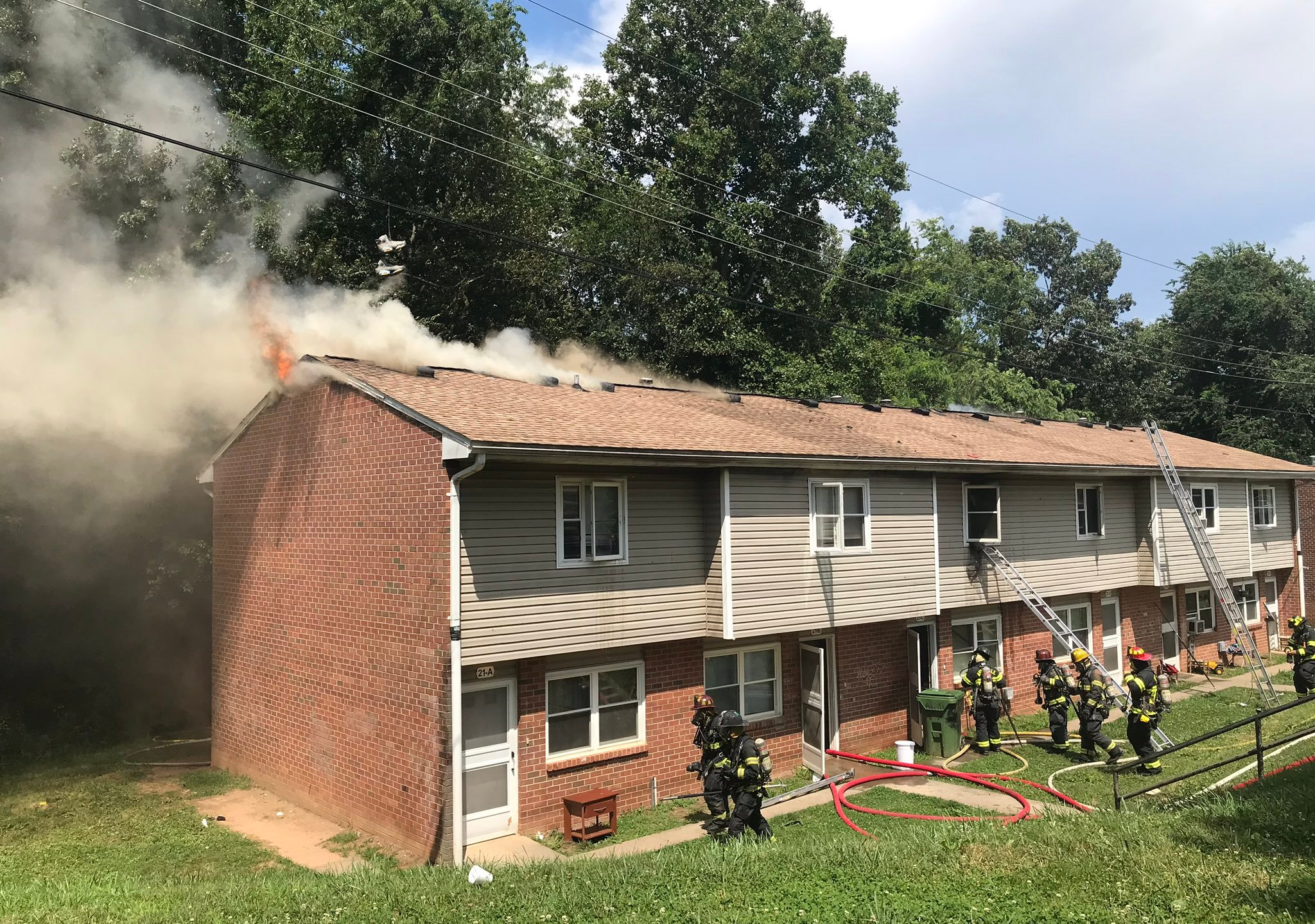 Fire at Deaverview Apartments in Asheville, Monday, June 17, 2019