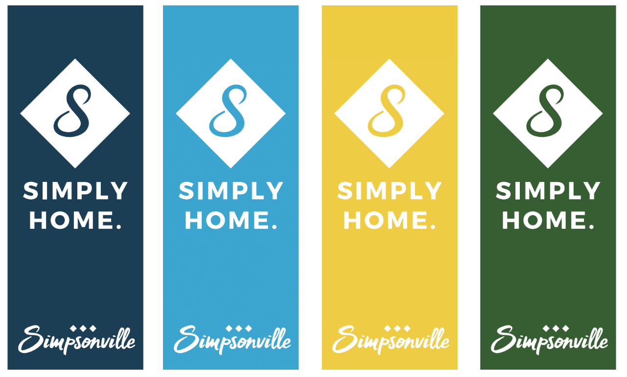 Proposed new logo for City of Simpsonville featured on banners