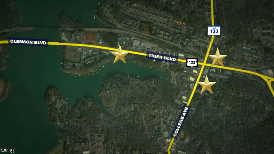 Map showing the location of the three armed robberies in Clemson.