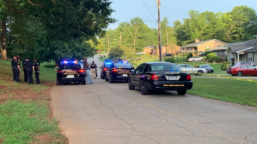 Police at scene of shooting along Sansbury Drive in Anderson, June 23, 2019