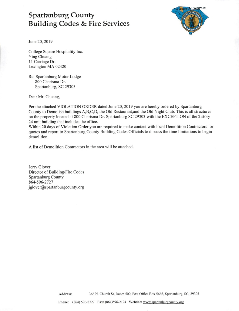 Letter ordering demolition of vacant buildings on property of Spartanburg Motor Lodge
