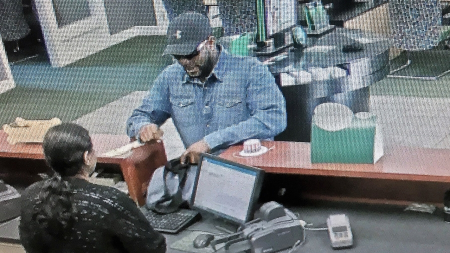 Surveillance photo from robbery at TD Bank on Haywood Road, June 29, 2019.
