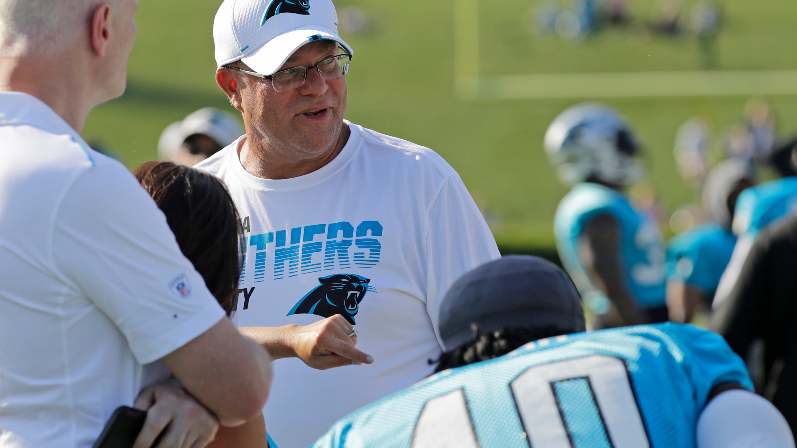 Carolina Panthers owner David Tepper watches his team during practice at the NFL football team's training camp in Spartanburg, N.C., Thursday, July 25, 2019.