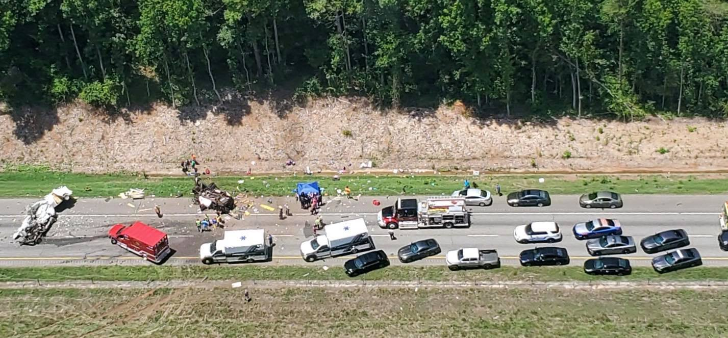 Aerial view shows a crash along I-85 in Franklin Co. which took the lives of 7 people, Saturday, July 6, 2019 (From: Shawn Miller via Life Flight/Facebook)