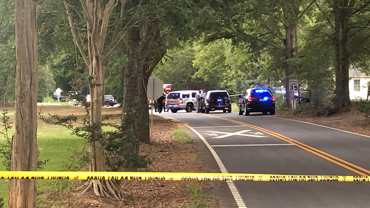 Anderson Co. Sheriff's Office at scene of deputy-involved shooting near Belton, August 14, 2019