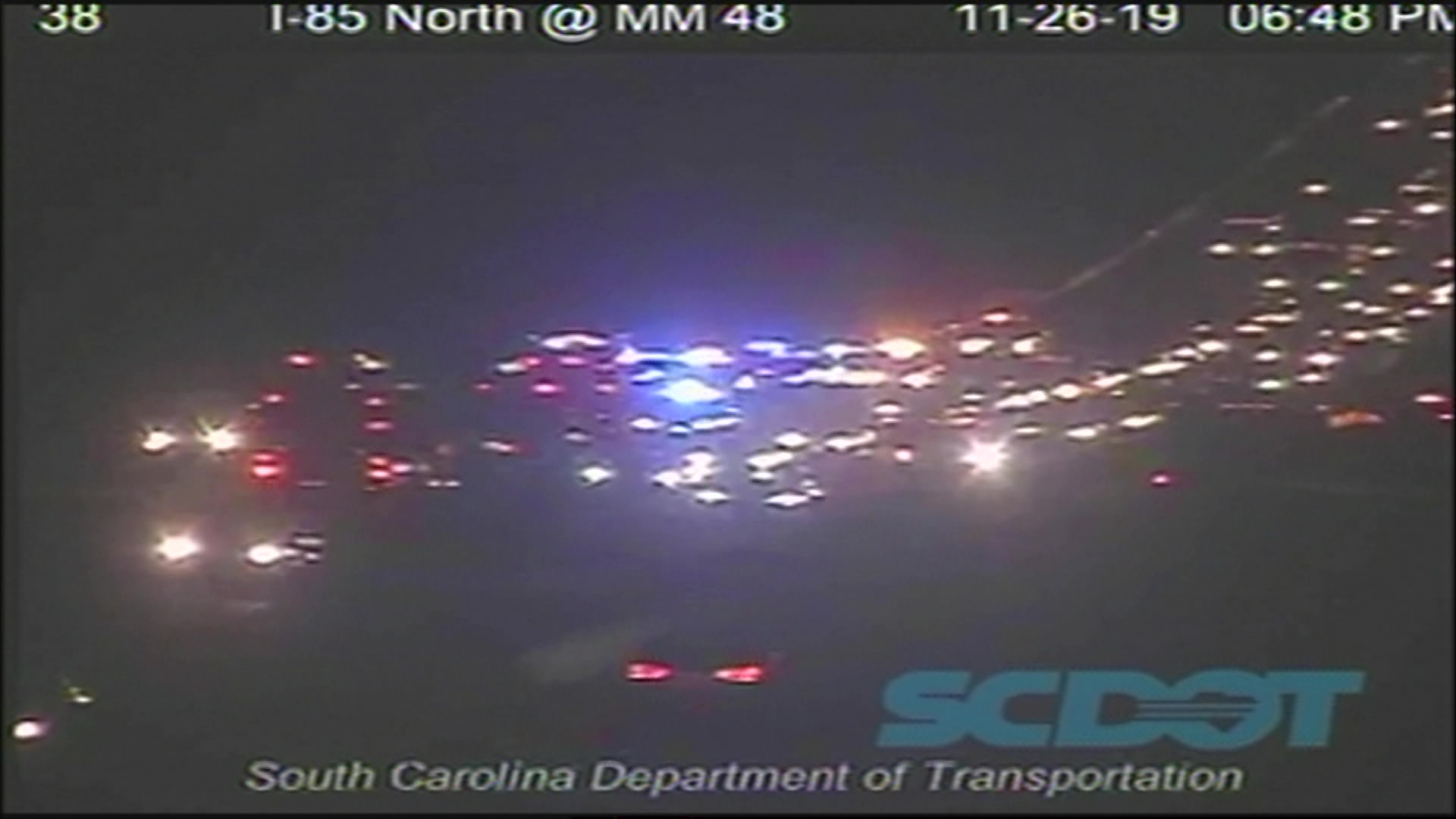 A South Carolina Department of Transportation traffic camera shows emergency vehicle at scene of crash on I-85 at Exit 48 in Greenville County, November 26, 2019