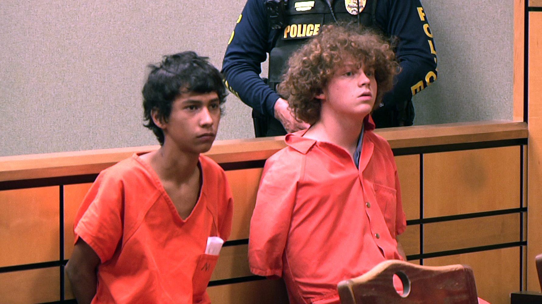 Carlos Jimenez (left) and Zachary Tost at a bond hearing in Anderson, December 4, 2019.