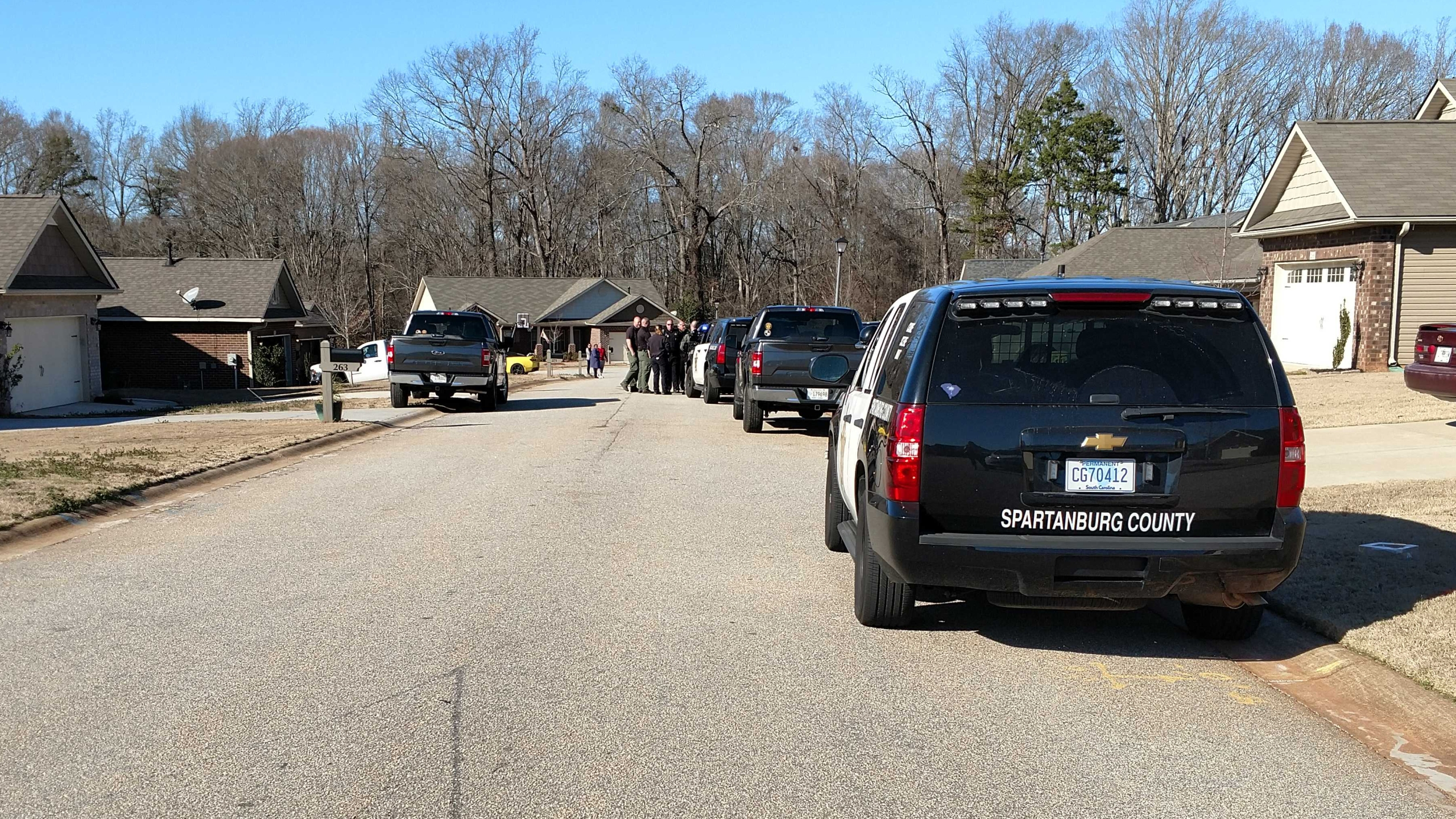 Deputies at scene of shooting along Stonecrest Drive in the Roebuck community, February 2, 2020.