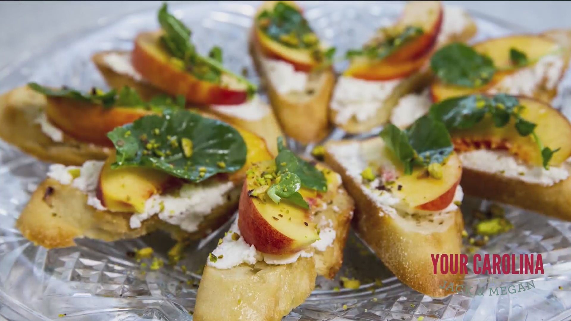 Chef's Kitchen - Ricotta and Peach Crostini with Pistachios
