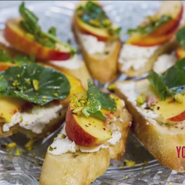 Chef's Kitchen - Ricotta and Peach Crostini with Pistachios