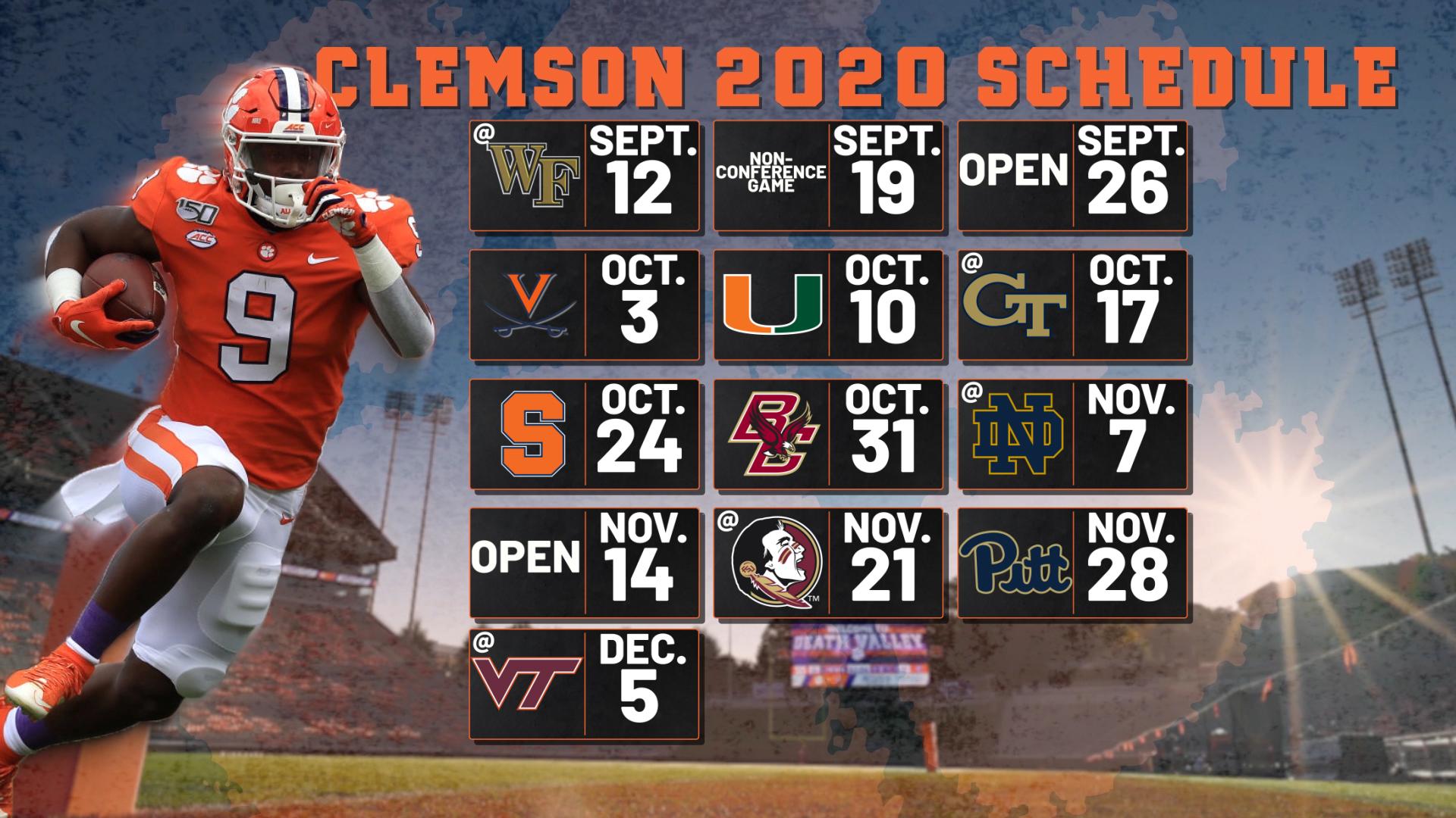 2020 Clemson Football Schedule Released