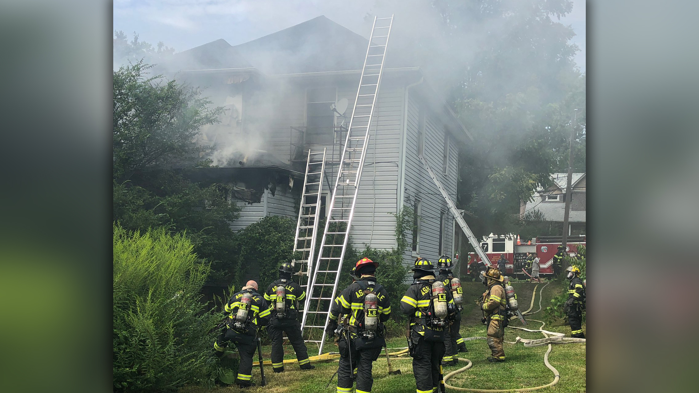 Fire at duplex on East Chestnut Street in Asheville, August 24, 2020. (From: Asheville Fire Department)