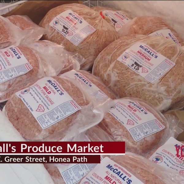 McCall's Produce Market in Honea Path famous for sausage, supporting local