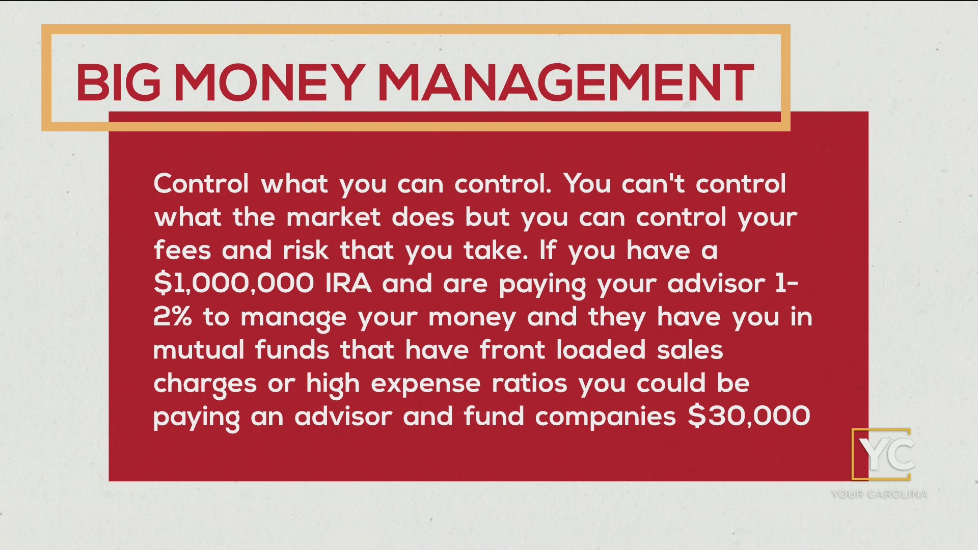 Big Money Management Financial Tip - Control What You Can Control