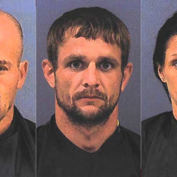 Booking photos left to right: Kenneth Hall, Bradley Johnston, and Amanda Newland (From: Cherokee Co. Sheriff's Office)